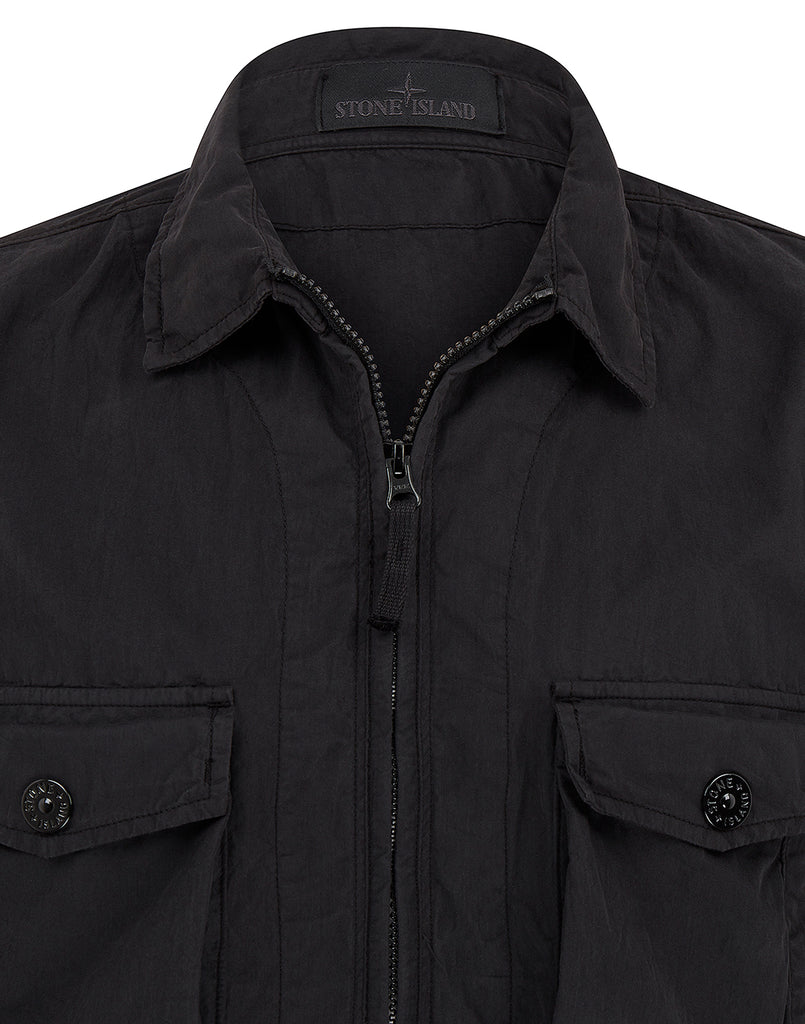 103F2 GHOST PIECE_COTTON NYLON TELA Overshirt in Black