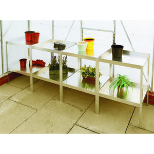 "20"" Wide Aluminium Greenhouse Modular Staging - Choice of Bay Sizes, Double or Triple Tier, Choice of Colours - Gardenbox"