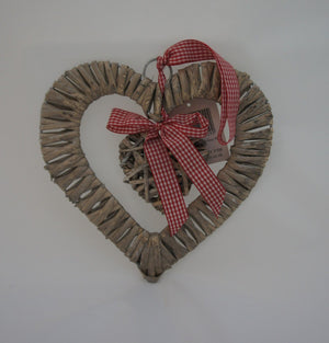 Shabby Chic Heart Shaped Rattan Wreath with Hanging Heart - Gardenbox
