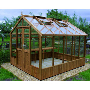 Natural Thermowood 8ft Wide Raven Wooden Greenhouse by Swallow