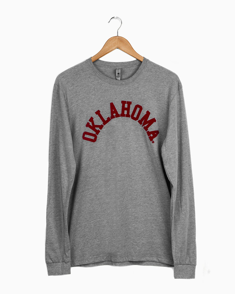 Oklahoma Flocked Gray Long Sleeve Sueded Tee
