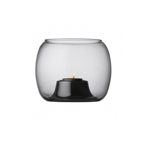 Iittala Kaasa Grey Tealight Holder 14cm By 12cm