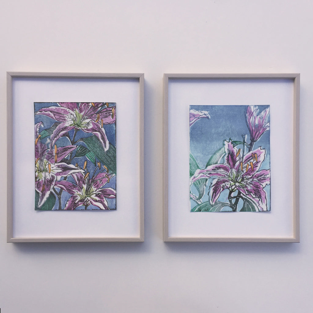 LILIES Colour woodblock print Japanese moku Hanga by Laura Sowerby