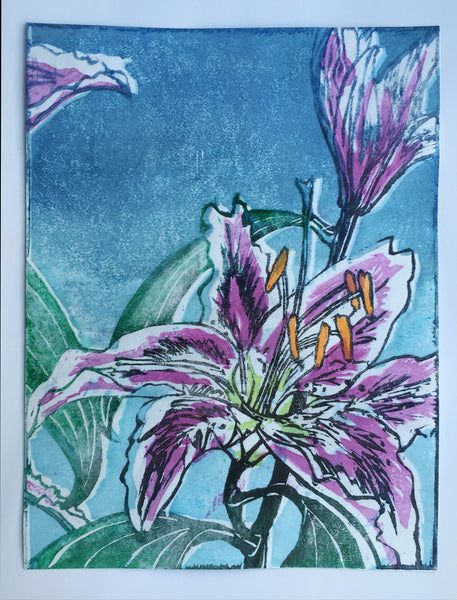 Lilies, Colour woodblock print Moku Hanga by Laura Sowerby