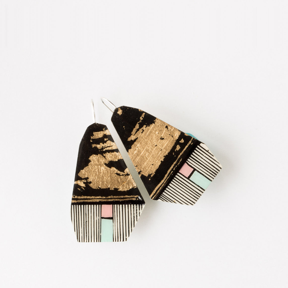 589-2 - Hand-Painted Contemporary Earrings - Sold by Chic & Basta