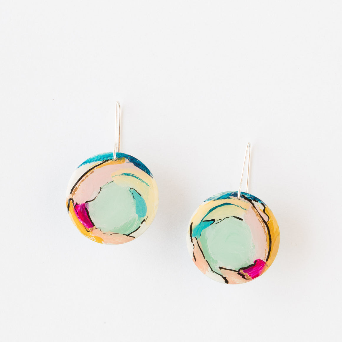723 - Round Hand Painted Modern Earrings - Sold by Chic & Basta