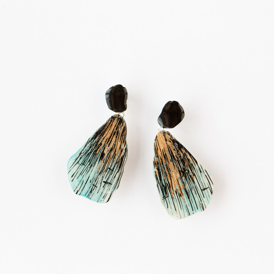730 - Large Turquoise, Black & Gold Contemporary Drop Earrings - Sold by Chic & Basta