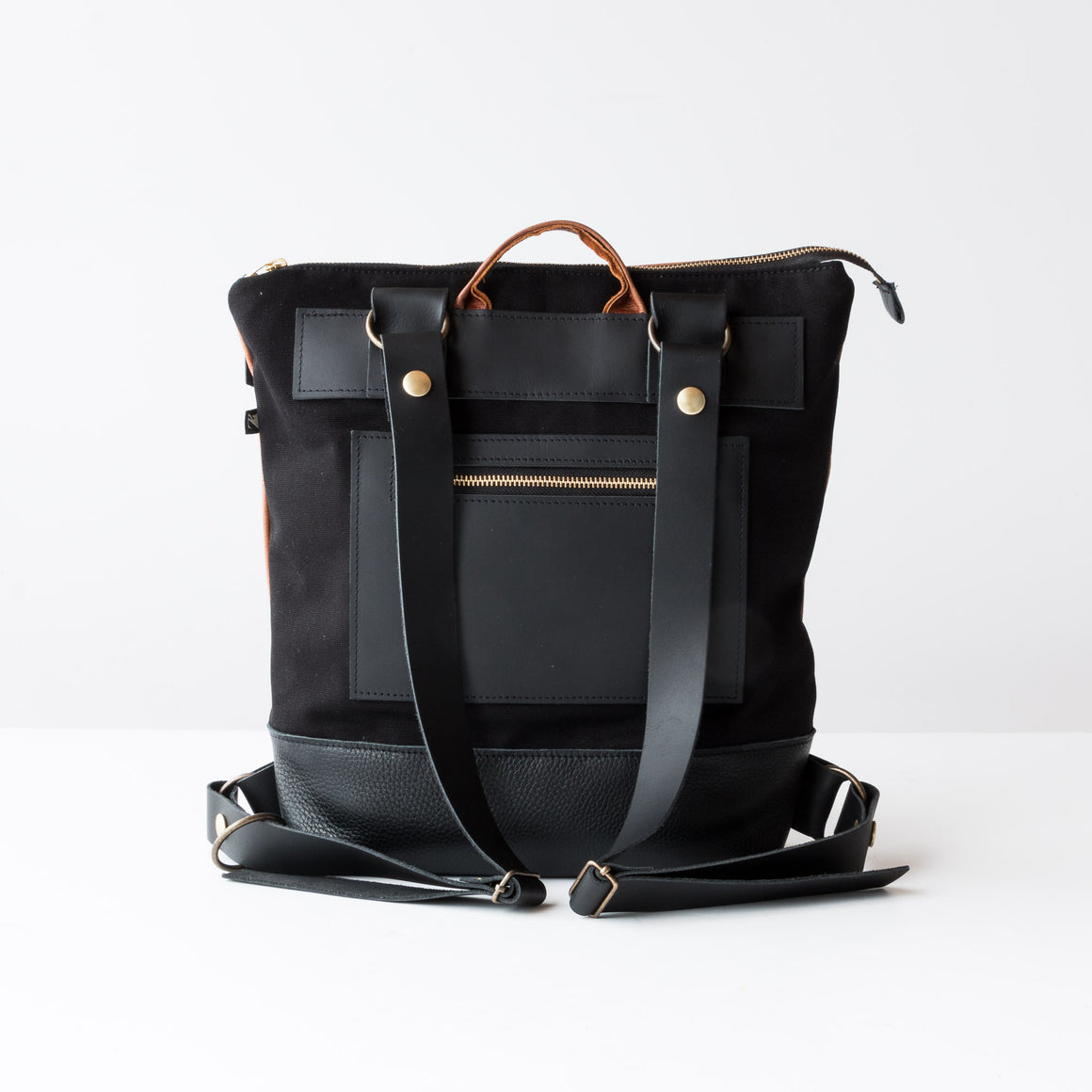 Hobart - Metallic Fishes - Caramel & Black Leather Backpack