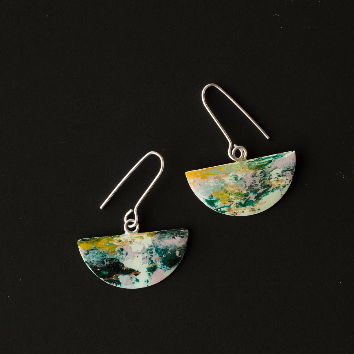 729 - Contemporary Handmade Half-moon Earrings Painted on Brass - Sold by Chic & Basta