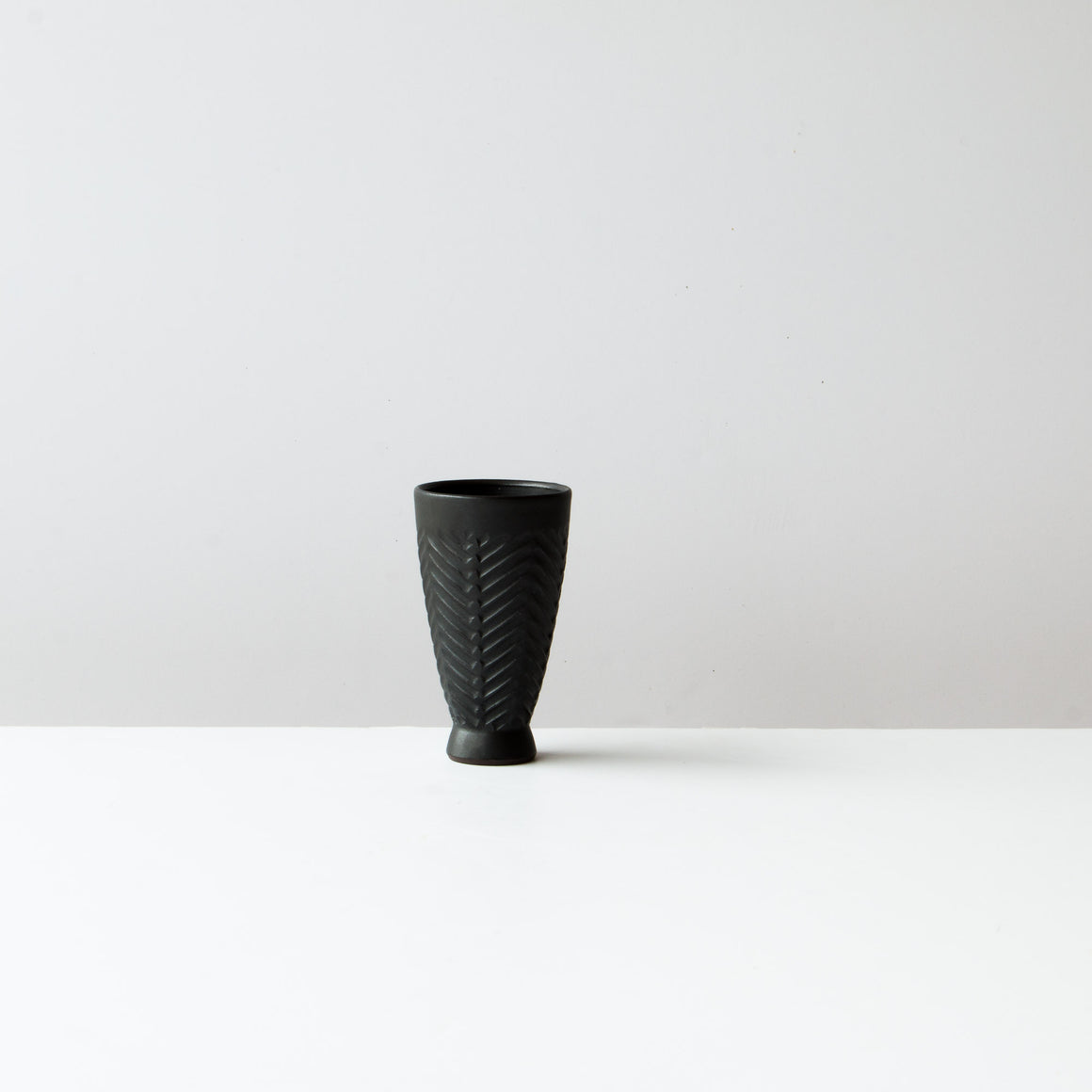 Side View - Greige Colour Handmade Ceramic Mazagran Coffee Cup / Goblet