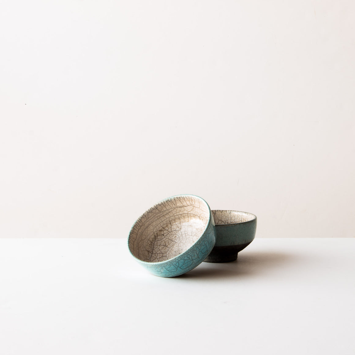 Piled Handmade Blue Raku Pottery Tea Bowls - Chawan Tea Bowls - Sold by Chic & Basta