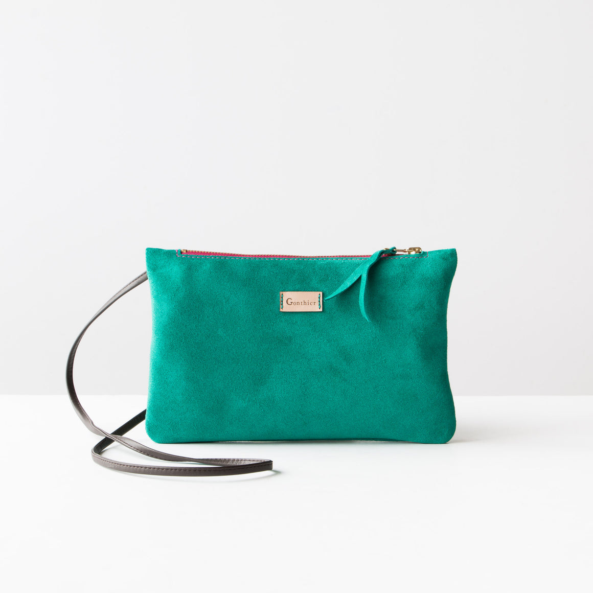 Greystone & Orange - Handmade Small Shoulder Bag in Suede Calfskin - Sold by Chic & Basta
