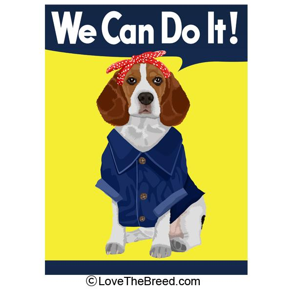 Beagle Rosie the Riveter We Can Do It Extra Large Tote