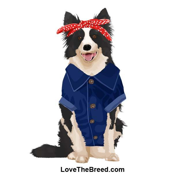 Border Collie Rosie the Riveter DOG Extra Large Tote
