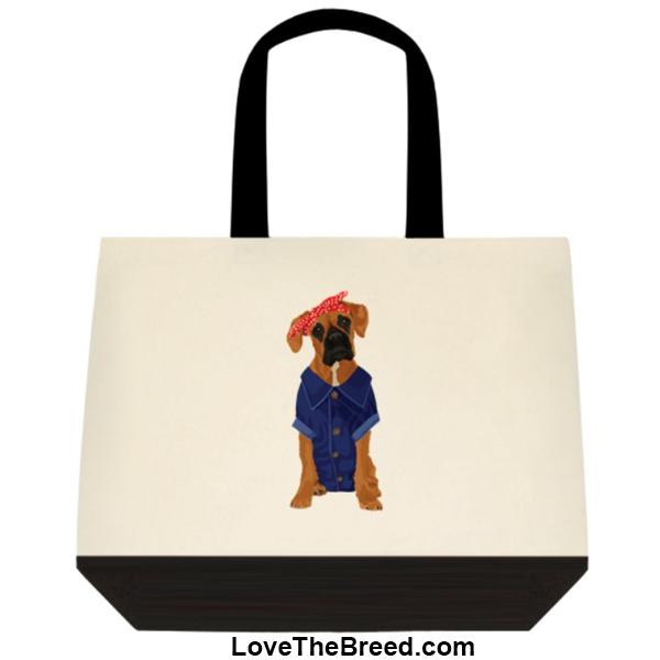 Boxer Rosie the Riveter DOG Extra Large Tote