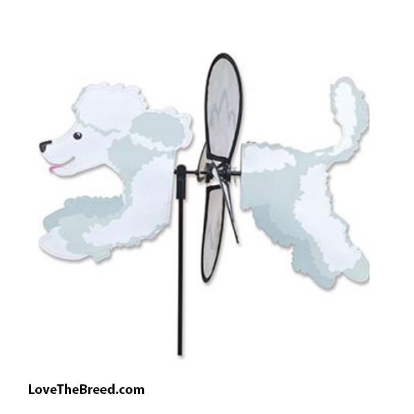 Poodle White Dog Petite Wind Spinner