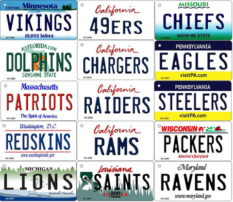 ALL State Background NFL Team Key Chain