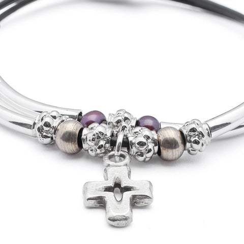 Faith bracelet in black leather, cross charm comes as shown