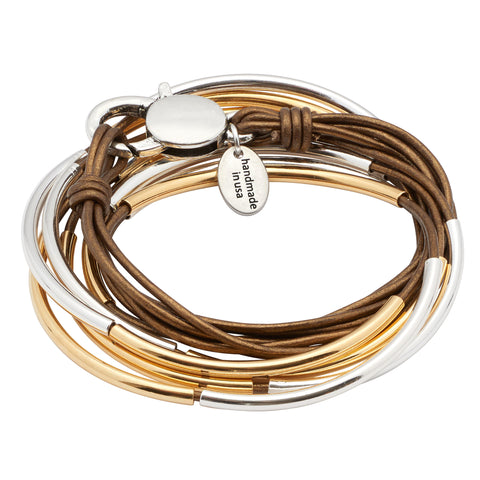 Lizzy Classic 4 Strand leather wrap bracelet Silver & Gold crescents in Metallic Bronze leather