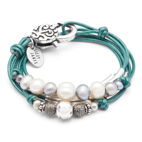 Malibu wrap bracelet-necklace shown in Metallic Teal leather, comes as shown