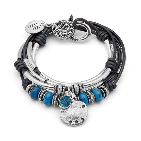 Melissa with Lapis, druzy and Sand Dollar Charm, shown in metallic gunmetal leather