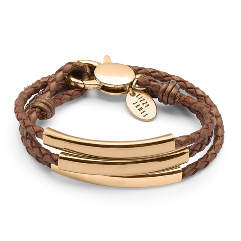 Mingle Engravable Bracelet - Gold - shown in Natural Mocha leather