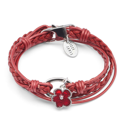 Mini Paisley with Red Enamel Flower Charm wrap bracelet shown in metallic moroccan red leather