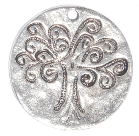 large hammered Tree of life charm in silver tone for lizzyjames charm bracelets