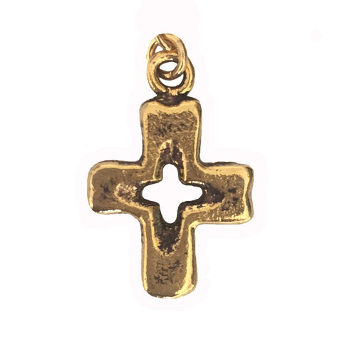 open cross charm in gold for Lizzy James charm wrap bracelets