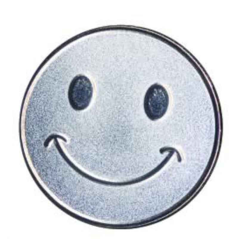 #E100 Silver Smiley Face Enamel Badges - pack of 5