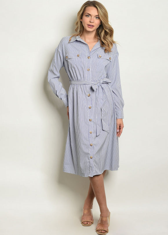 Carrie Striped Shirt Dress