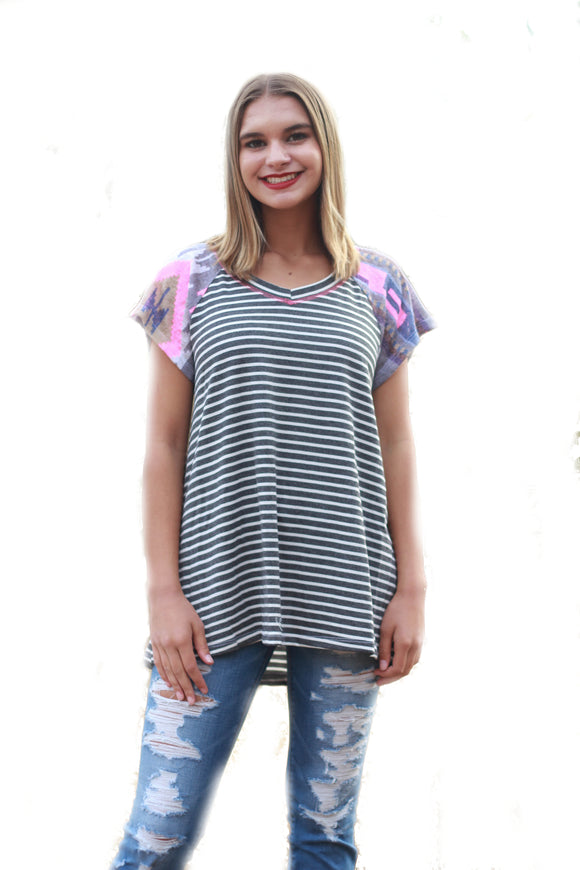 Aztec Contrast Striped Top