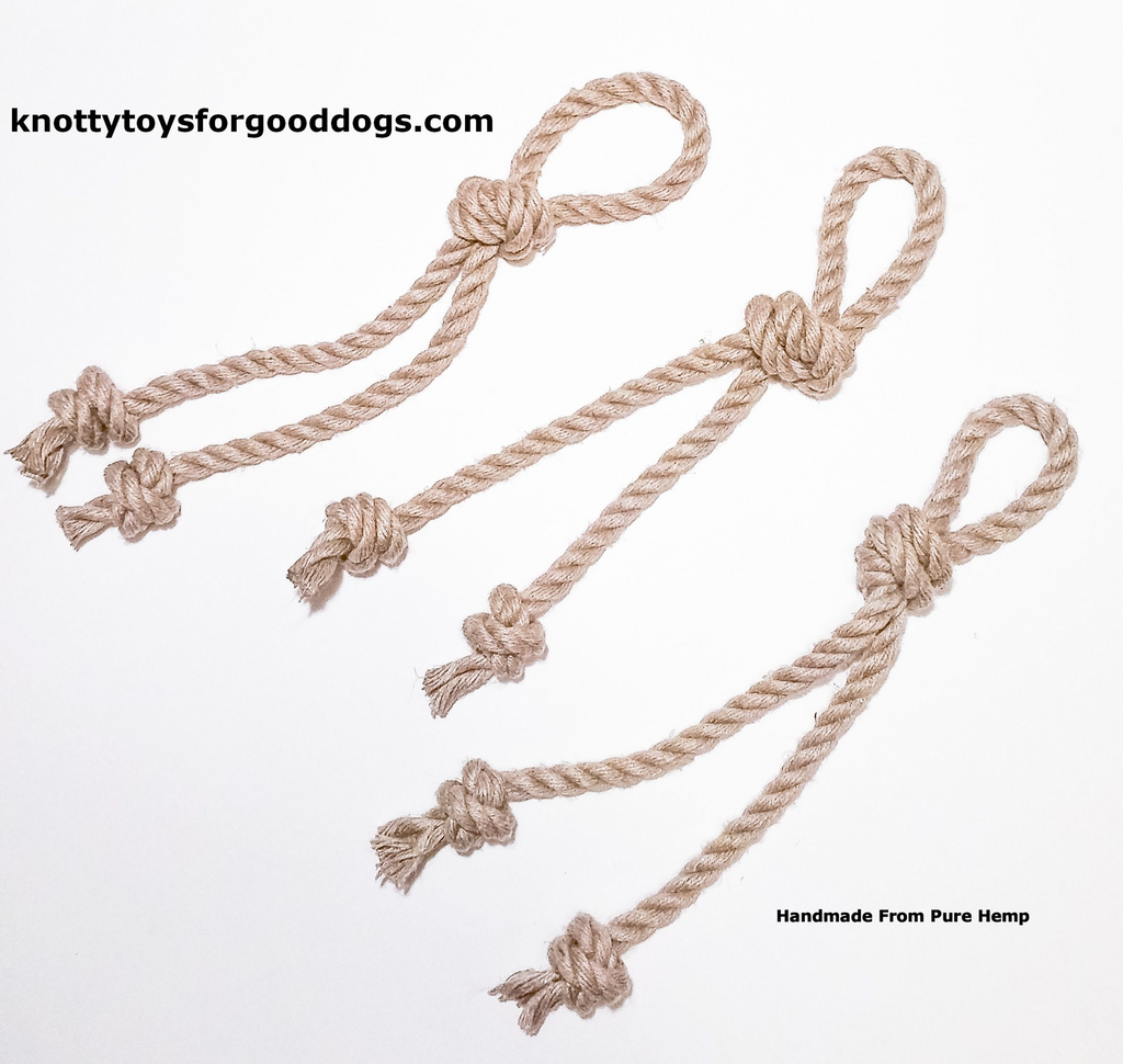 Image of 3 Knotty Toys for Good Dogs Knotty Chaw Chaw handcrafted natural organic hemp rope dog toy.