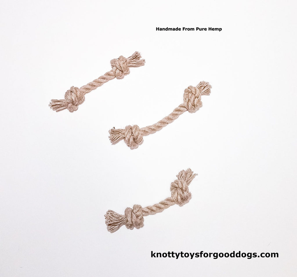 Image of 3 Knotty Toys for Good Dogs L'il Gnaw handcrafted natural organic hemp rope dog toy.