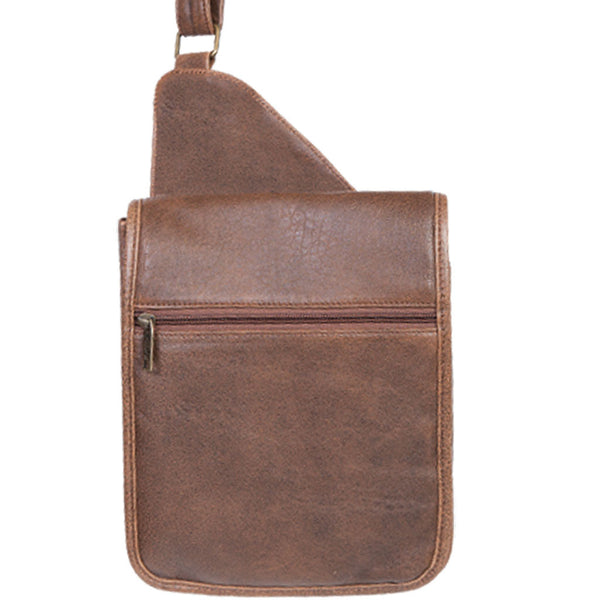 Scully Leather 81st Aero Squadron Collection Walnut Brown Lambskin Lieutenant's Satchel