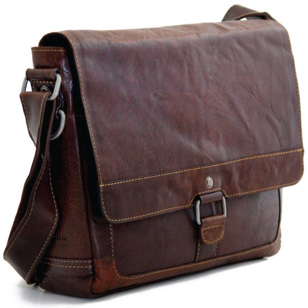 Jack Georges #7314 Voyager Slim Brown Buffalo Leather Messenger Bag