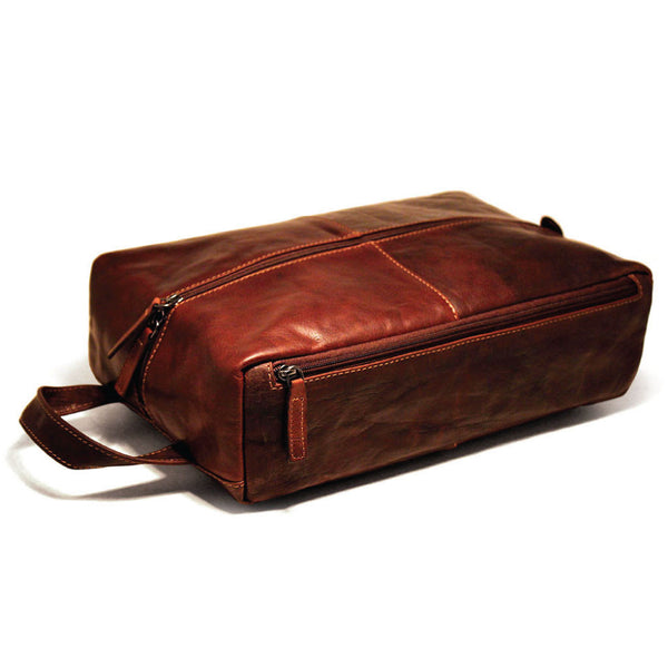 Jack Georges #7414 Voyager Brown Buffalo Leather Shoe Bag & Shave Kit