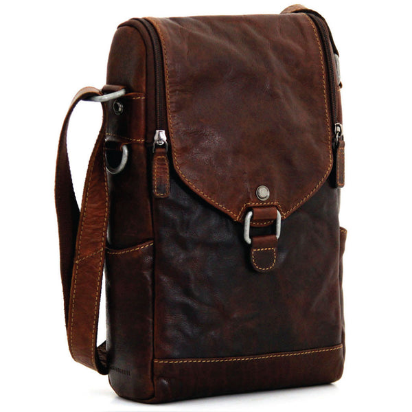Jack Georges #7513 Voyager Brown Buffalo Leather North / South Wine Bag Messenger