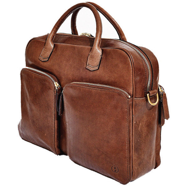 Libero Ferrero Vegetable Tanned Espresso Horween Leather Pocketed Portage Briefcase