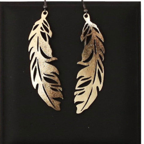 doury earrings 'feather' gold small