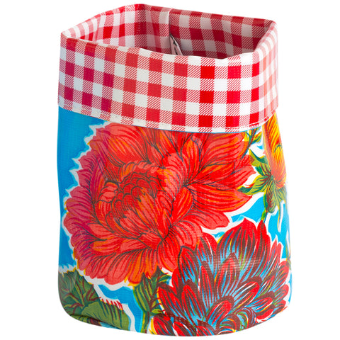 BenElke collapsible planter 'blue & red flowers' medium