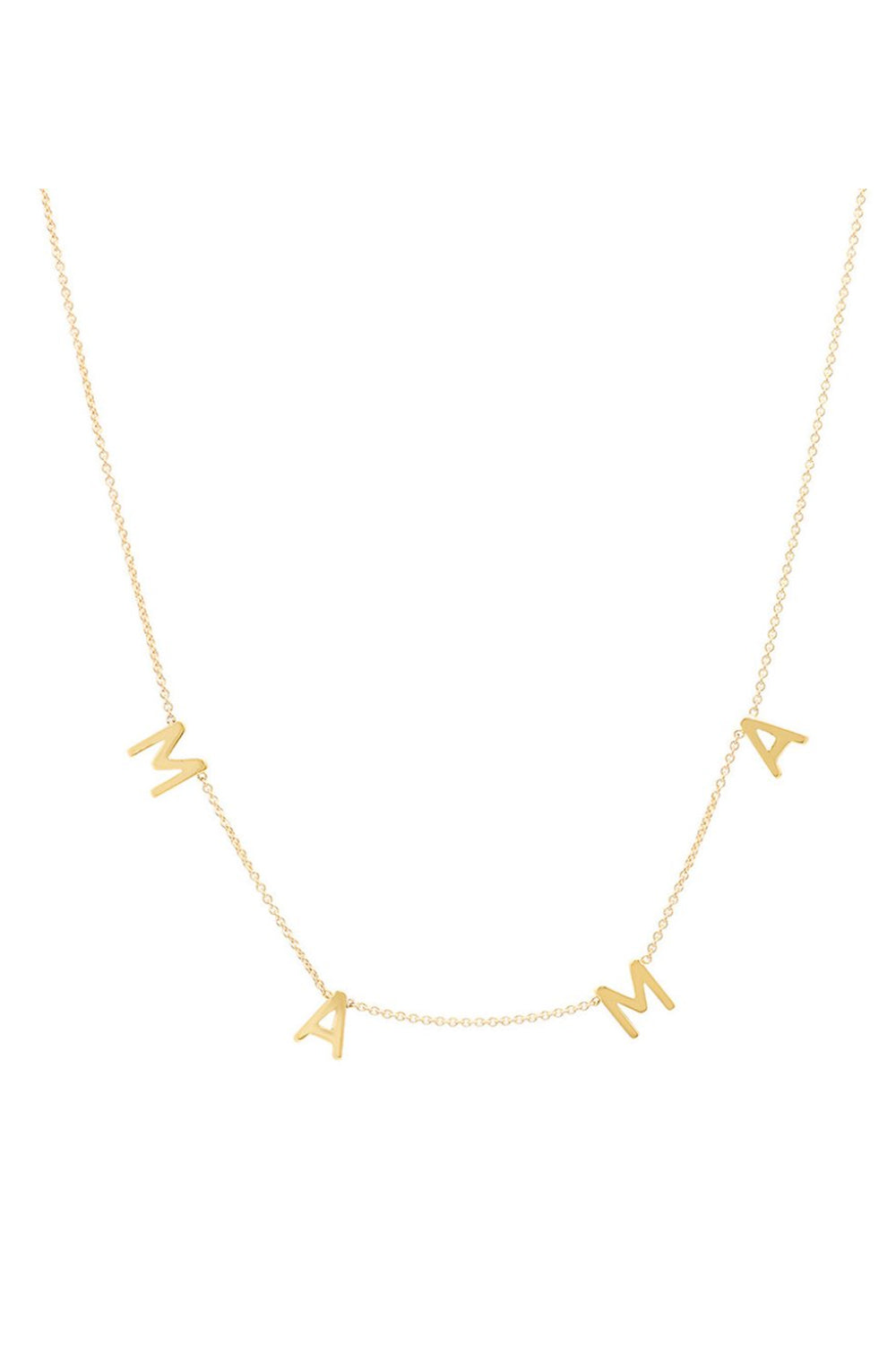 BYCHARI Spaced MAMA Necklace in 14K