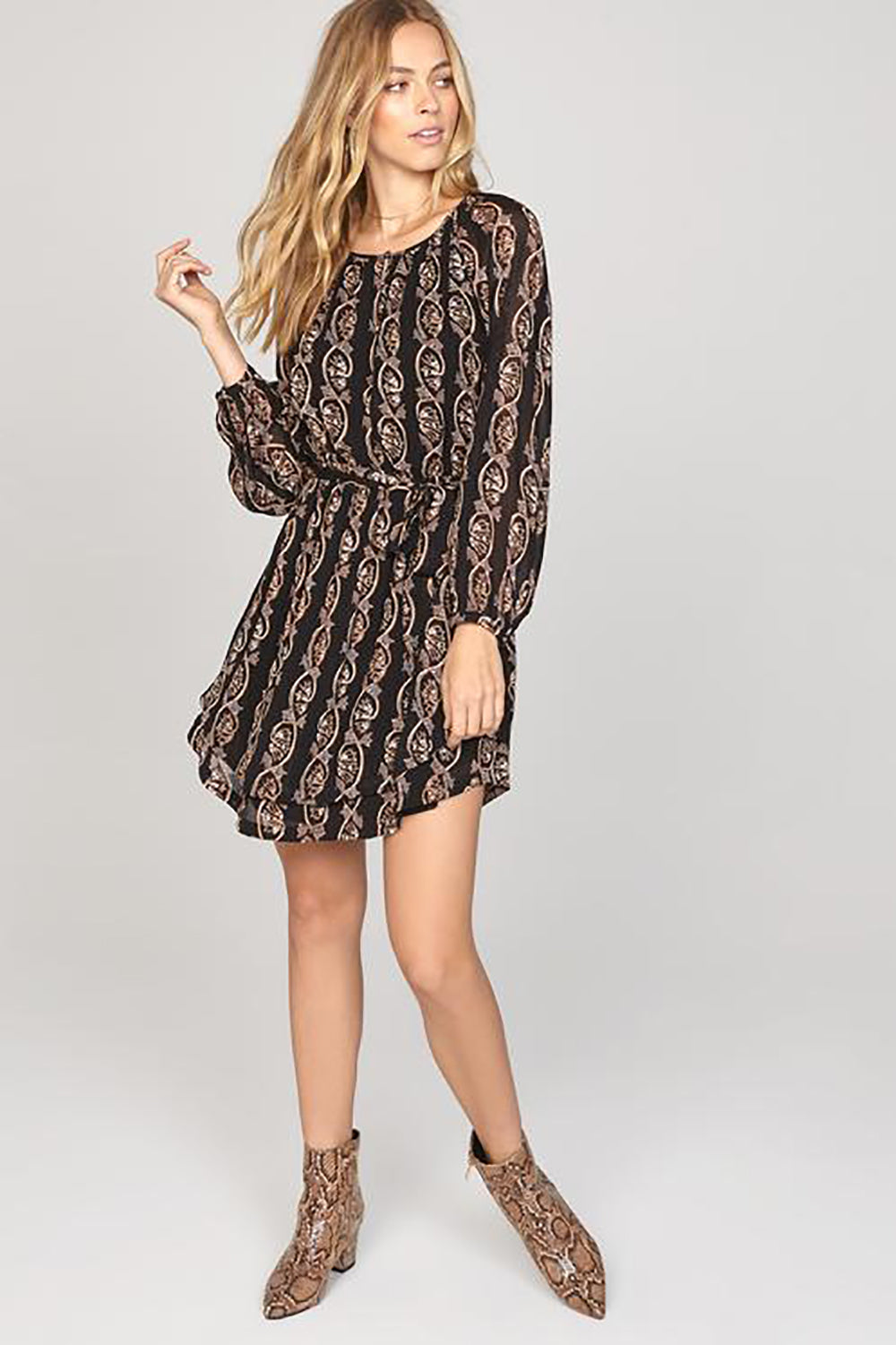 Amuse Society Falling for You Dress in Black Sands- Final Sale- Small