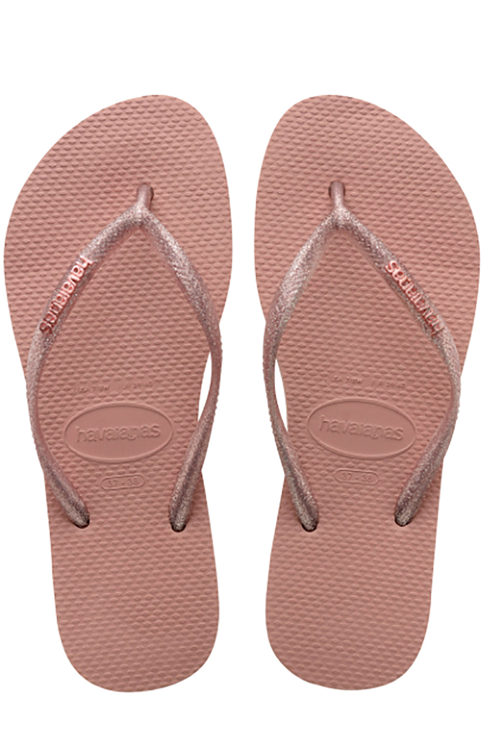 Havaianas Slim Logo Metallic in Rose Gold