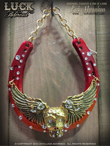 14k Hot Dog Lucky Horseshoe Art with Skull and Wings