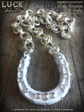 1603 Lucky Horseshoe necklace, horseshoe necklace, wedding jewelry, wedding, bride necklace, silver, big, chunky, bold and badass
