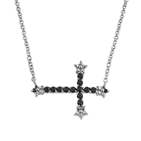 "Black Sideways Cross Necklace with Stones, 925 Sterling Silver, 16-17"" Chain"