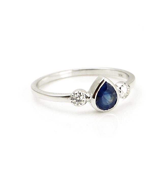 White Gold Sapphire Tear Ring