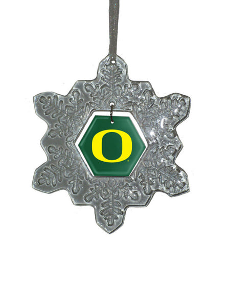 Oregon Ducks Glass Snowflake Ornament - Star Spangled 1776