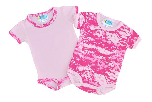 Pink Camo Cotton 2 Pc Infant Onesie Bodysuit - Star Spangled 1776